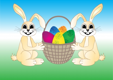 Easter bunny with eggs in basket Stock Vector - 18349939