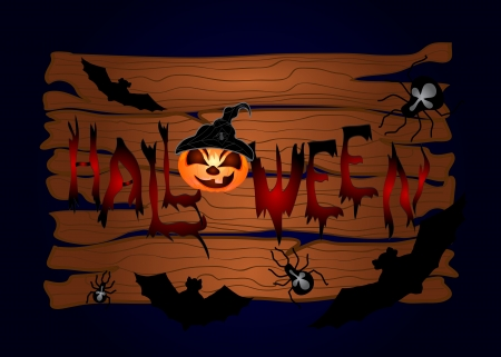 Halloween night background with wood and pumpkins  Vector illustration Vector