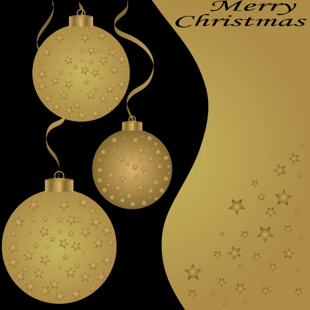 Golden Christmas balls on the yellow background  Vector illustration Vector