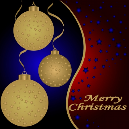 Golden Christmas balls on the red background  Vector illustration Vector