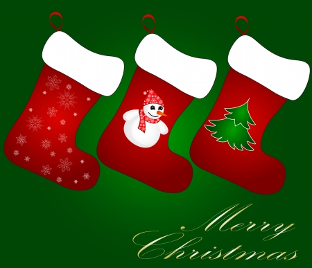 Cute christmas socks with ornaments Vector