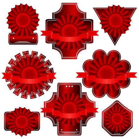 Set Of Red Label  Vector