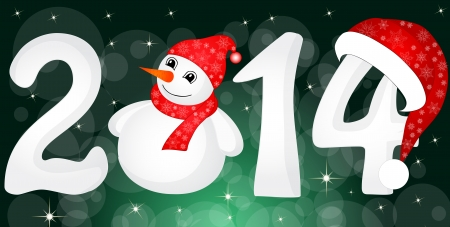 Happy New Year 2014 From Snow With Snowman and Santa Hat Vector