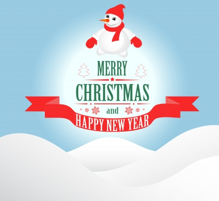 Merry Christmas greeting card   with snowman  Vector Vector