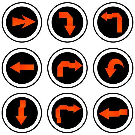 orientation marker: Arrow sign icon set  Vector Illustration
