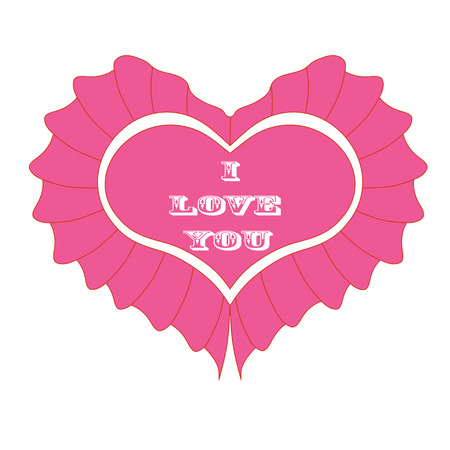 esp cards: Pink heart  Isolated On White Background, Vector