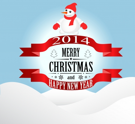 Merry Christmas greeting card Landscape with snowman  Vector Illustration