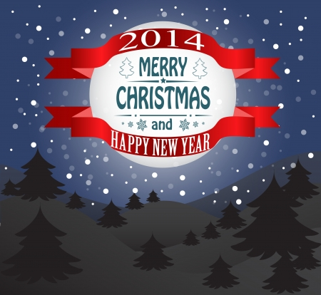Merry Christmas greeting card Landscape  Vector Vector