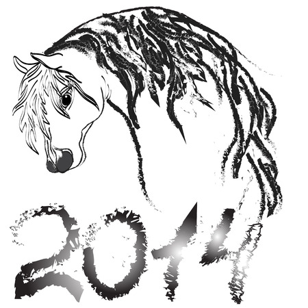Vector image of an horse on white background  New Year 2014 Vector