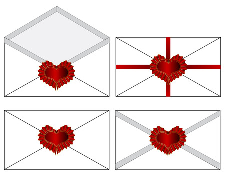 Vector set of wax sealed envelopes. Vector