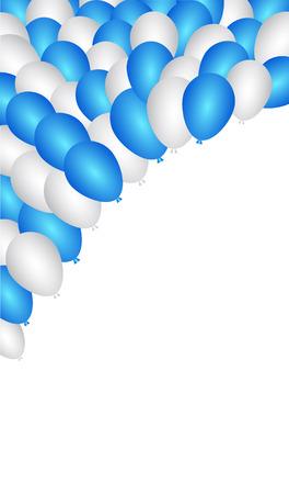 white party: Blauwe en witte ballonnen partij. Vector