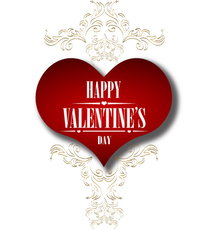 Valentines day card with beautiful ornament. Vector Illustration