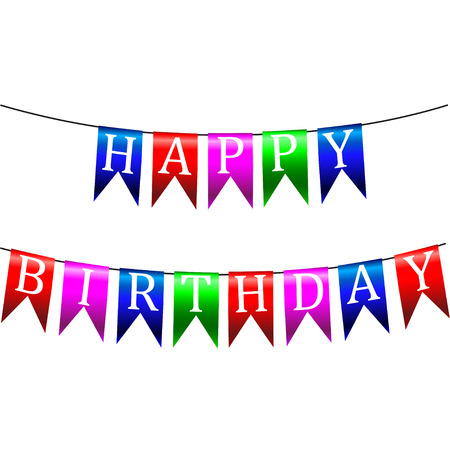 Happy birthday Colorful bunting and garland set isolated on white