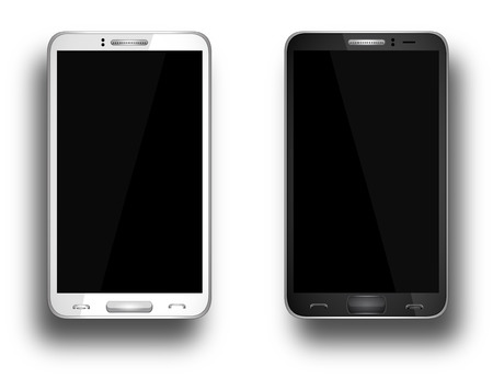 Realistic mobile phone with blank screen isolated on white, Vector Illustration