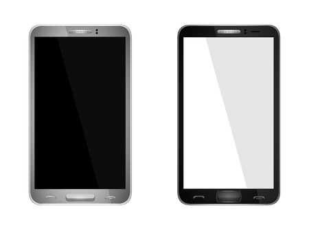 Realistic mobile phone with blank screen isolated on white, Vector Vector