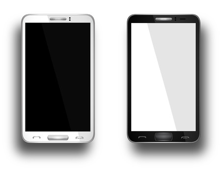 Realistic mobile phone with blank screen isolated on white, Vector Stock Vector - 26768633