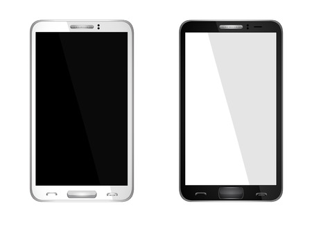 Realistic mobile phone with blank screen isolated on white, Vector Stock Vector - 26768635