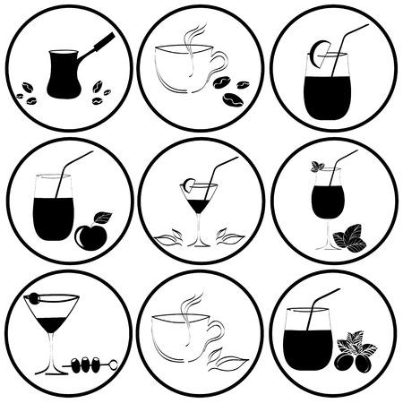 set of drinks in glasses Vector