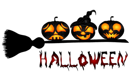 Pumpkins on a sweeper, a beautiful vector illustration to Halloween.Halloween banners  Vector