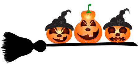 spazzatrice: Zucche su una spazzatrice, una bella illustrazione vettoriale di Halloween
