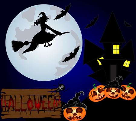 Halloween night background with creepy castle, witch and pumpkins. Vector illustration Vector