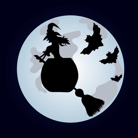 spazzatrice: Happy Halloween Poster Halloween Banner Vector illustration La strega su una spazzatrice
