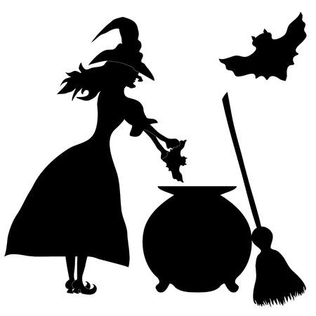 spazzatrice: Halloween banner .Il strega Enda spazzatrice. Illustrazione vettoriale