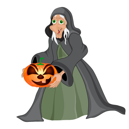 all saints day: Halloween background with  witch and pumpkins.Halloween banners . Vector illustration