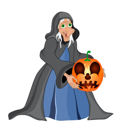 Halloween background with  witch and pumpkins. Halloween banner .Vector illustration Vector