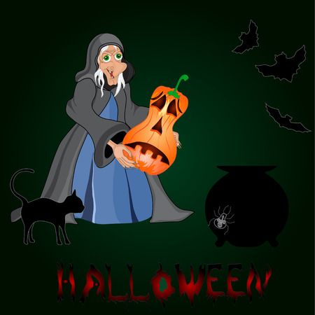 Halloween night background with  witch and pumpkins. Halloween banners . Vector illustration Vector