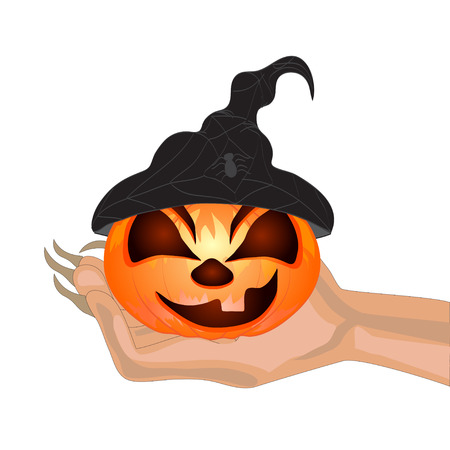 Terrible Pumpkin on a hand at witch.Halloween. Vector illustration Vector