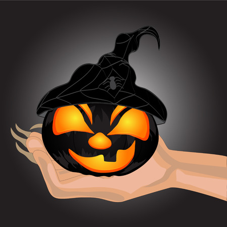 Terrible Pumpkin on a hand at witch.Halloween. Halloween banner . Vector illustration Vector