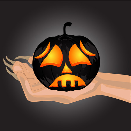 Terrible Pumpkin on a hand at witch.Halloween.Halloween banner . Vector illustration Vector