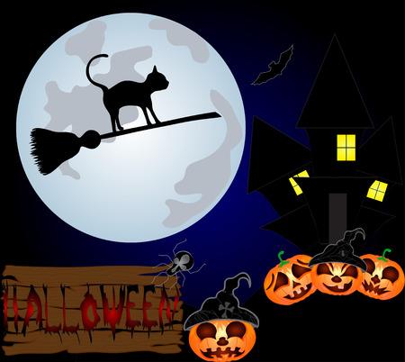 spazzatrice: Gatto nero in volo su una spazzatrice sul cielo notturno. Illustrazione vettoriale di Halloween Vettoriali
