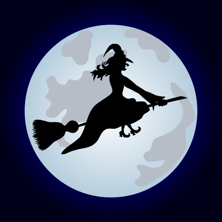 Halloween banner .The witch on a sweeper. Vector illustration Illustration