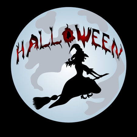 all saints day: Happy Halloween Poster. Halloween banner .Vector illustration.The witch on a sweeper.