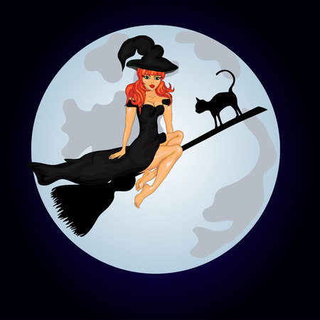 Happy Halloween Poster. Halloween banner .Vector illustration.The witch on a sweeper. Vector