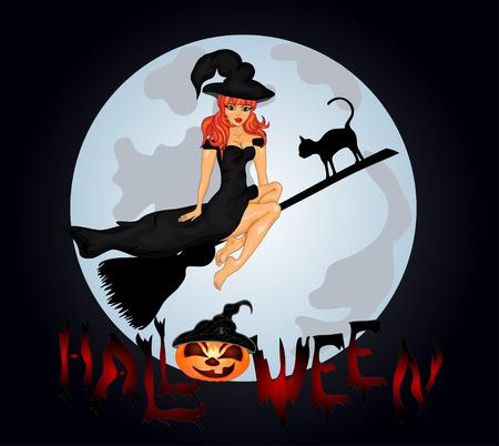 spazzatrice: Poster di Halloween felice. Banner di Halloween .Vector illustration.The strega su una spazzatrice.