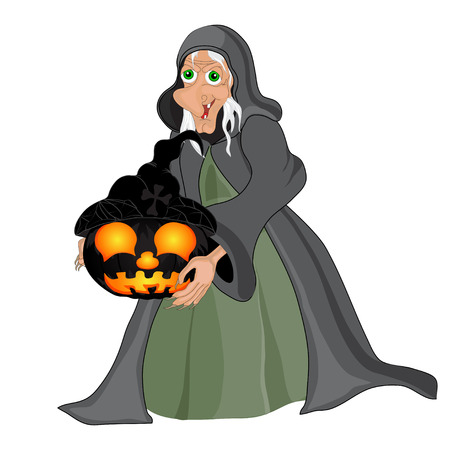 Halloween background with  witch and pumpkins. Vector illustration Vector