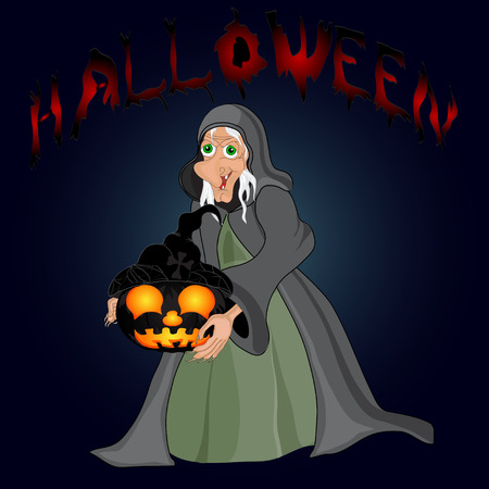 all saints day: Halloween night background with  witch and pumpkins. Vector illustration