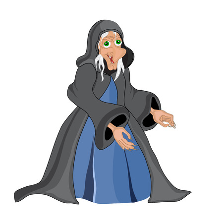 Halloween banner .Witch old woman. Vector
