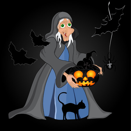 Halloween night background with  witch and pumpkins. Halloween banner .Vector illustration Vector