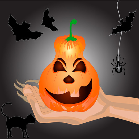 Terrible Pumpkin on a hand at witch.Halloween. Halloween banner .Vector illustration Vector