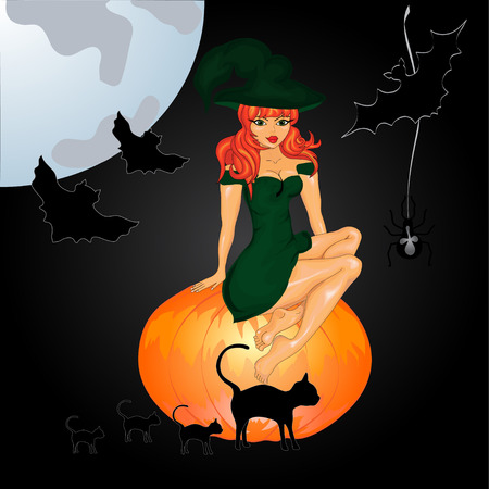 Halloween night background with witch and pumpkins. Vector illustration Vector