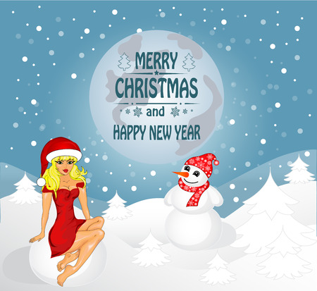 'snow maiden': Merry Christmas greeting card Landscape with Snow Maiden and snowman. Vector