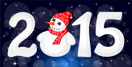 Happy New Year 2015 From Snow With Snowman and Santa Hat. Vector Illustration