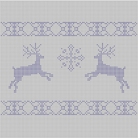The embroidered New Years ornament. Beaded Christmas ornament reindeer and snowflakes. vector