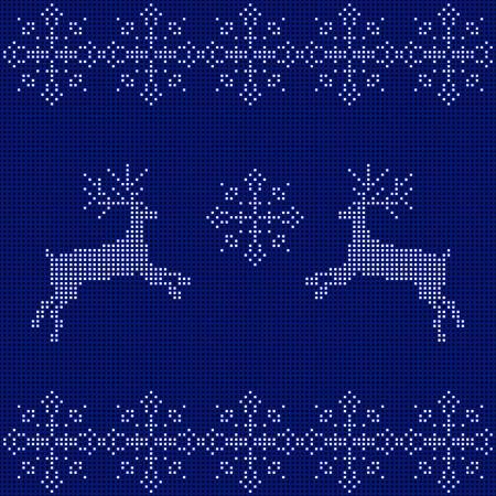 刺繍新年飾り。ビーズ クリスマス飾りトナカイや雪片。ベクトル