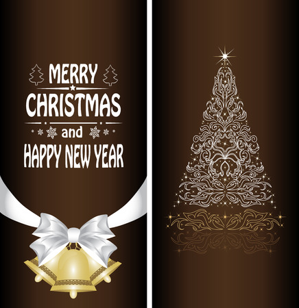 braun: Christmas card with a Christmas tree with a bow, a ribbon and a Christmas bell. vector