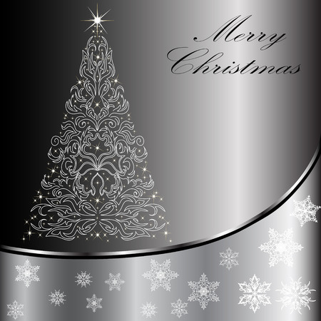Christmas card with a Christmas tree . vector Vector